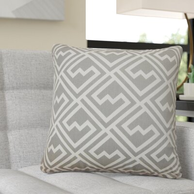 Rhames Geometric Cotton Throw Pillow Color: Gray