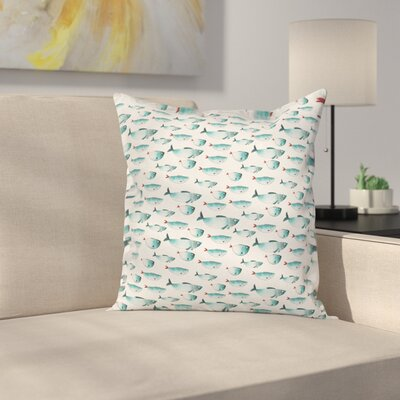 Fish Watercolor Marine Animal Square Pillow Cover Size: 24 x 24
