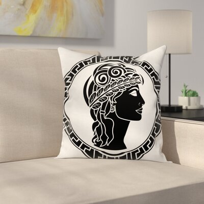 Roman Woman Artistic Square Cushion Pillow Cover Size: 18 x 18