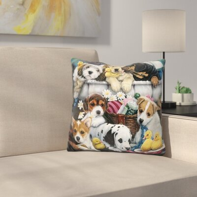 Bath Time Pups Throw Pillow