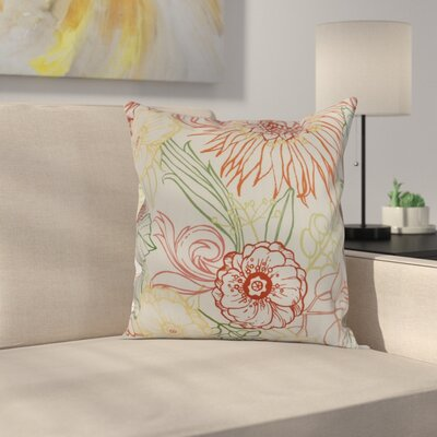 Derick Floral Print Throw Pillow Color: Orange, Size: 26 x 26
