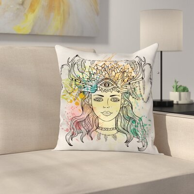 Fabric Female Shaman Feathers Square Pillow Cover Size: 18