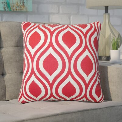 Wolff Geometric Cotton Throw Pillow Color: Red