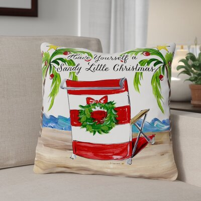 Sandy Christmas Beach Chair Throw Pillow Size: 16