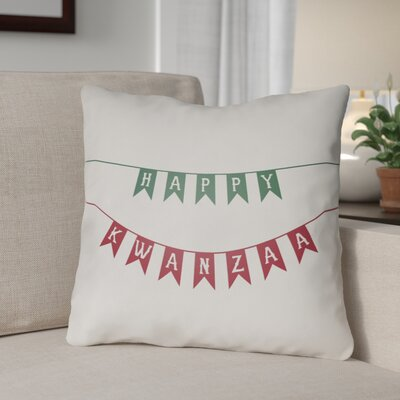 Indoor/Outdoor Throw Pillow Size: 18 H x 18 W x 4 D, Color: White/Green/Red