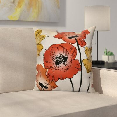 Poppies Throw Pillow Size: 16 H x 16 W x 2 D, Color: Red / Orange