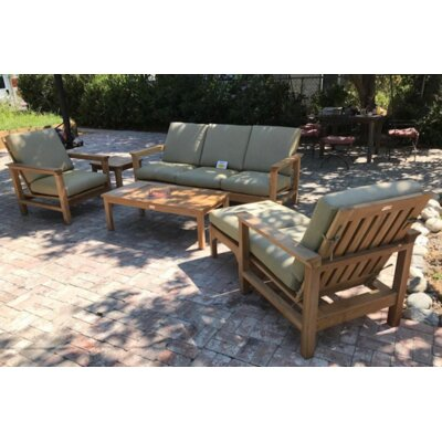 Magnificent East Harptree Teak Sunbrella Sofa Seating Group Cushions - Product picture - 14800