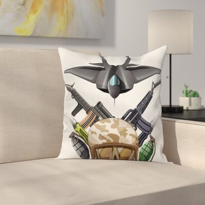 Fabric Case War Battle Soldier Jet Square Pillow Cover Size: 18 x 18