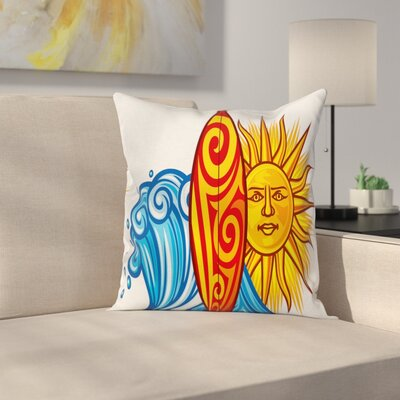 Ocean Wave Sun Square Cushion Pillow Cover Size: 24 x 24