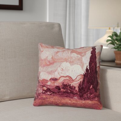 Lapine Wheatfield with Cypresses Square Indoor Pillow Cover Color: Red, Size: 14 x 14