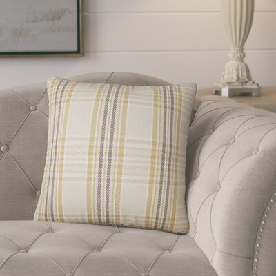 Posiedon Plaid Cotton Throw Pillow Color: Natural Gold