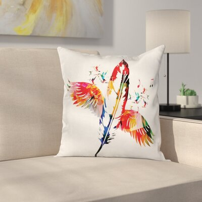 Music Case Feather with Wings Birds Square Pillow Cover Size: 16 x 16