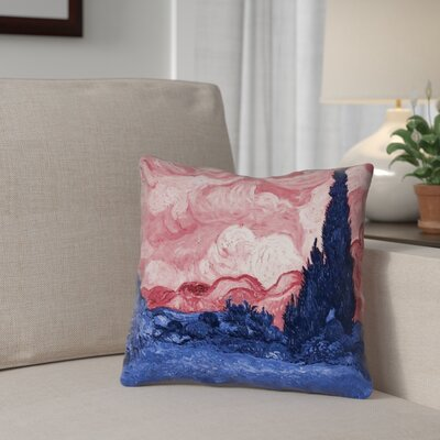 Lapine Wheatfield with Cypresses Indoor Throw Pillow Color: Red/Blue, Size: 14 x 14