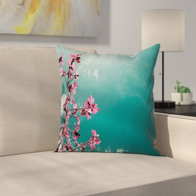 Floral Sunny Sky Exotic Summer Cushion Pillow Cover Size: 16 x 16
