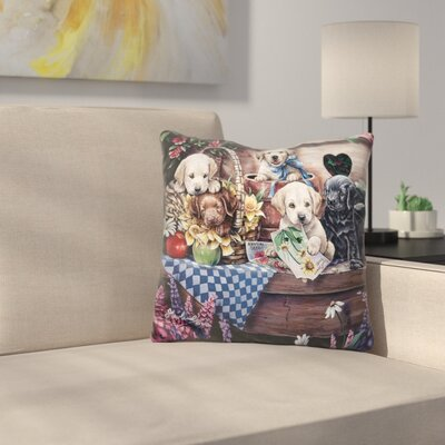 Five Puppies Throw Pillow