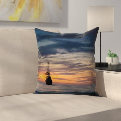 Pirate Ship Old Sailboat Marine Square Cushion Pillow Cover Size: 24 x 24