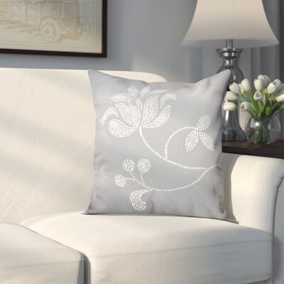 Maniteau Flower Bloom Print Throw Pillow Size: 16 H x 16 W, Color: Gray