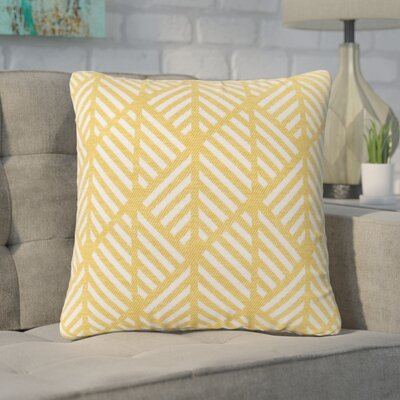 Darren Geometric Design Square Throw Pillow Color: Yellow