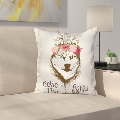 Wolf Decor Case Flowers Feathers Square Pillow Cover Size: 16 x 16