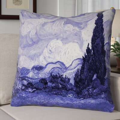 Meredosia Wheat Field with Cypresses Euro Pillow Color: Blue