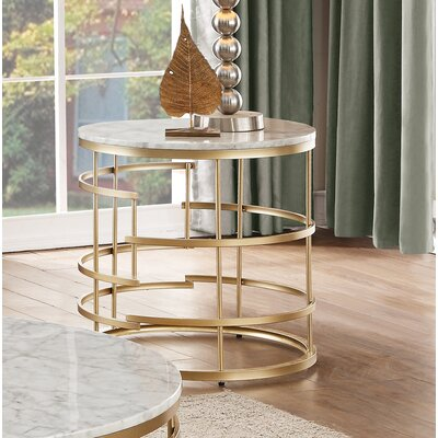 Minerva Round End Table Table Base Color: Gold