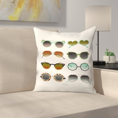 Cat Coquillette Sunglasses Throw Pillow Size: 14 x 14