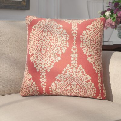 Ignazio Damask Cotton Throw Pillow Color: Cayenne