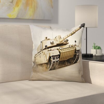 Fabric Case ArmoTank War Battle Square Pillow Cover Size: 18 x 18
