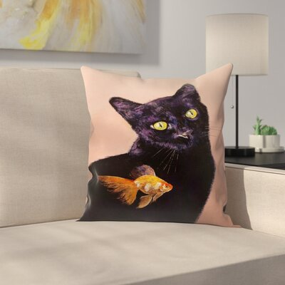Michael Creese Cat and fish Throw Pillow Size: 18 x 18