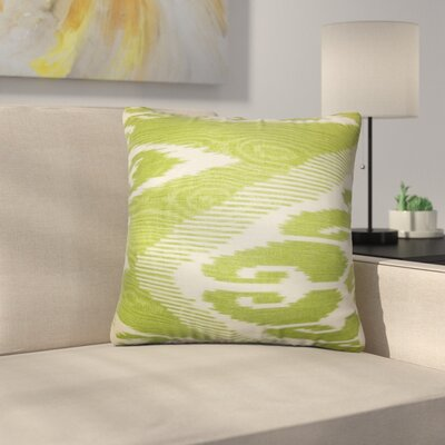 Augill Platz Ikat Linen Throw Pillow Color: Green