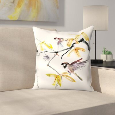 Sparrows and Fall Throw Pillow Size: 14 x 14
