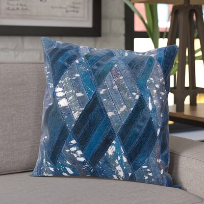 Cougar Cove Leather Throw Pillow Color: Navy Silver