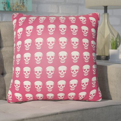 Calindra Skulls Throw Pillow Size: 18 H x 18 W x 4 D, Color: Pink