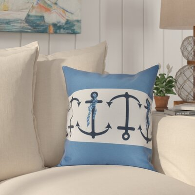 Hancock Anchor Stripe Print Outdoor Throw Pillow Size: 18 H x 18 W, Color: Blue