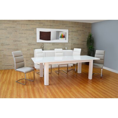 Scaife Extendable Glass Dining Table Color: White