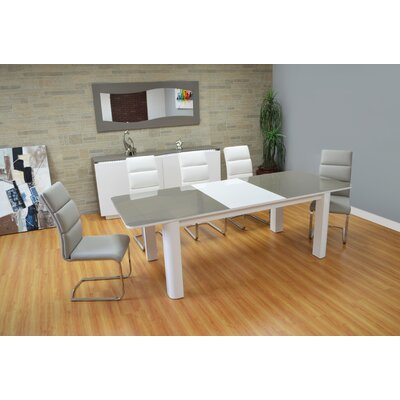 Scaife Extendable Glass Dining Table Color: White/Gray