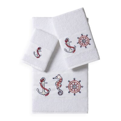 Embellished 3 Piece Bath Towel Set Color: White
