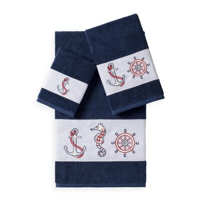 Embellished 3 Piece Bath Towel Set Color: Midnight Blue