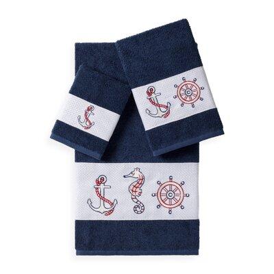 Embellished 3 Piece Bath Towel Set Color: Midnight Blue