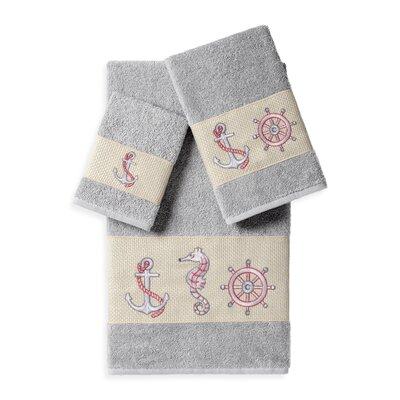Embellished 3 Piece Bath Towel Set Color: Light Gray