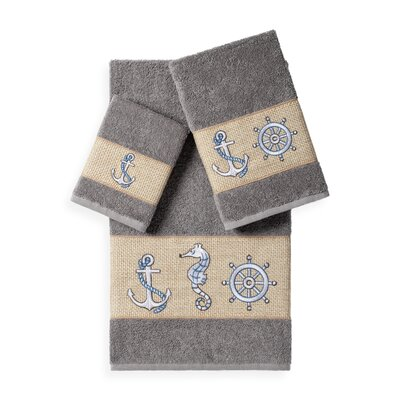 Embellished 3 Piece Bath Towel Set Color: Dark Gray