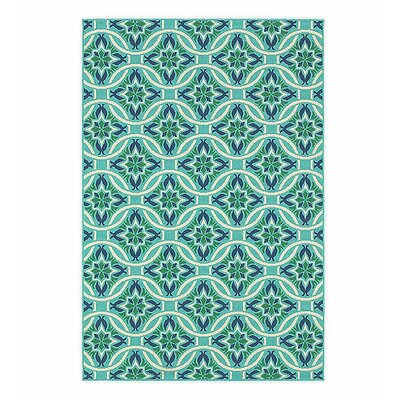 Lexington Green/Blue Indoor/Outdoor Area Rug Rug Size: 53 x 76