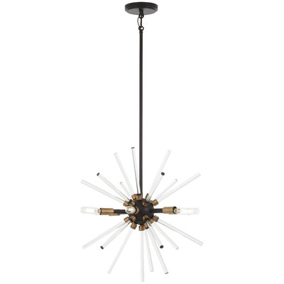 Bower 6-Light Sputnik Chandelier Finish: Bronze/Natural Brass, Size: 19 H x 18 W x 18 D