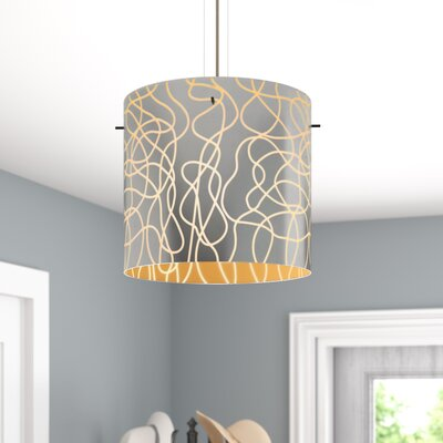 William 1-Light Brass Drum Pendant Finish: Bronze, Shade Color: Orange, Size: 9.88 H x 7.88 W x 7.88 D