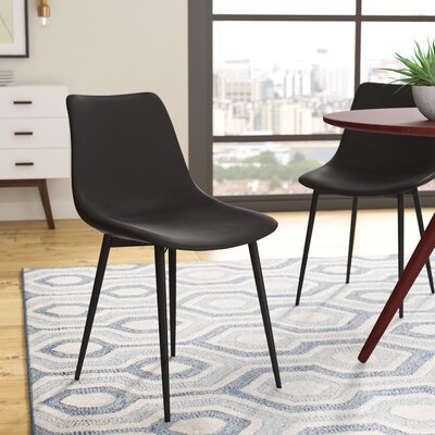 Bixler Contemporary Side Chair Upholstery: Black
