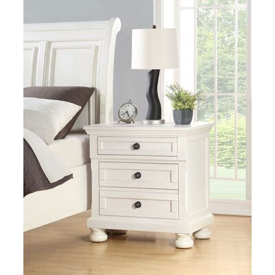 Elkland 3 Drawer Nightstand Color: White