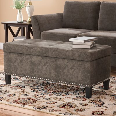 Saltsman Rectangular Tufted Storage Ottoman Upholstery: Light Gray