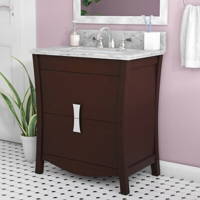 Cataldo Floor Mount 31 Single Bathroom Vanity Set with 4 Centers Faucet Mount Base Finish: Coffee, Top Finish: Bianca Carara, Sink Finish: Biscuit