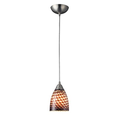 Burham 1-Light Mini Pendant Finish: Satin Nickel and Coco Glass