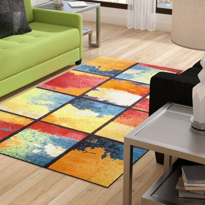 Vaughn Painted Cubes Red/Blue Area Rug Rug Size: 8' x 10'